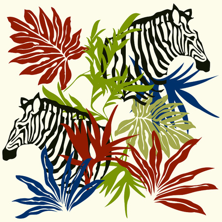 botanical illustration: Zebra & palm leaves illustration for design material Illustration