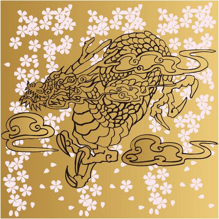 日本の龍イラスト デザイン素材