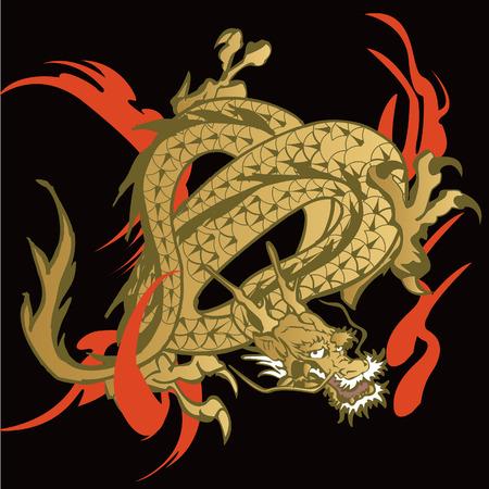 chinoiserie: Japanese  Dragon illustration for design material Illustration