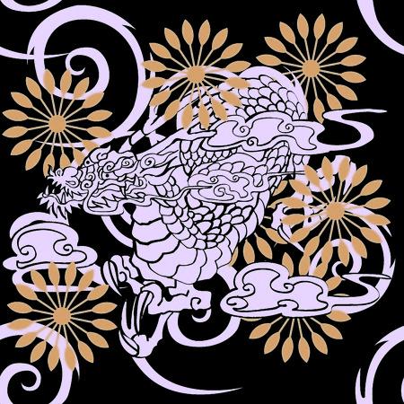 snazzy: Japanese  skull illustration for design material Illustration