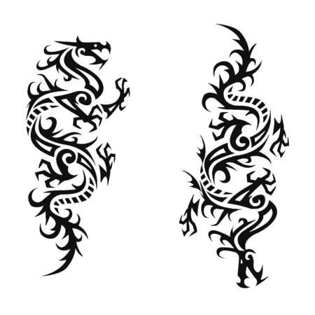 sophisticate: Tribal dragon illustration for design material