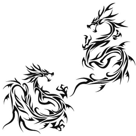 tribal dragon: Tribal dragon illustration for design material