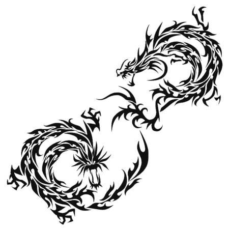 トライバルドラゴン イラスト デザイン素材