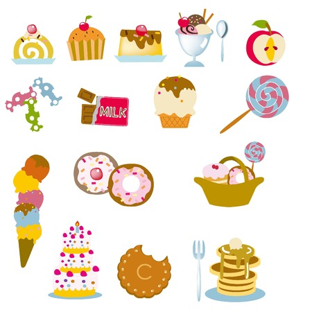 sweetened: sweets  illustration for design material
