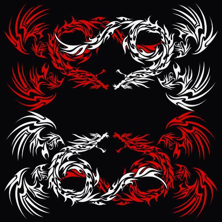 tribal dragon: Tribal dragon for design material Illustration