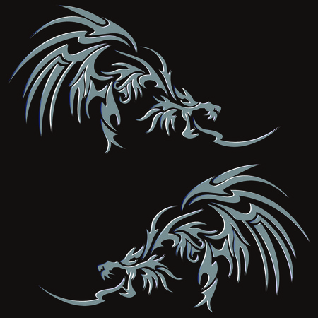 Tribal dragon for design material Vectores
