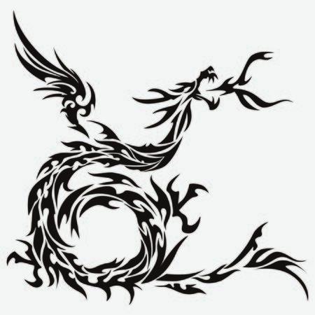 Tribal dragon for design material Illustration