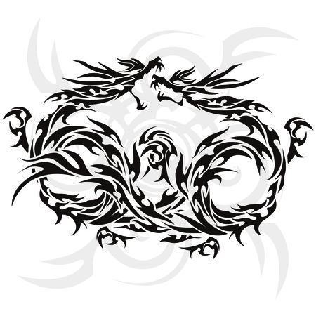 Tribal dragon for design material Illustration