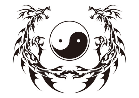 Tribal dragon for design material  イラスト・ベクター素材