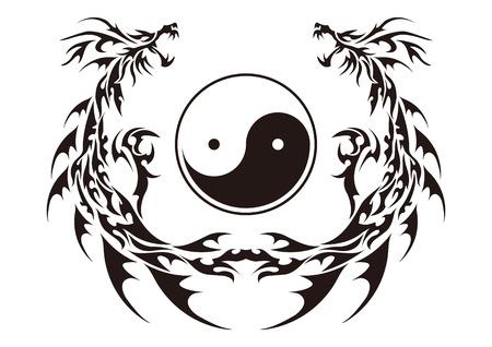 Tribal dragon for design material Stock Illustratie