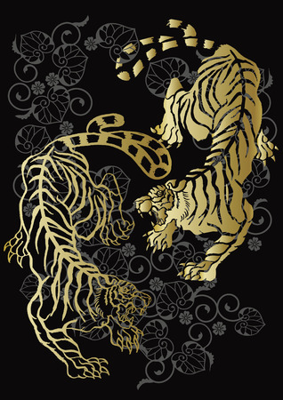 likely: tiger and arabesque Illustration