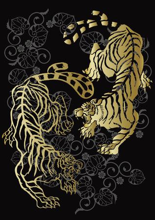 tiger and arabesque Illustration