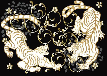 虎と桜  イラスト・ベクター素材