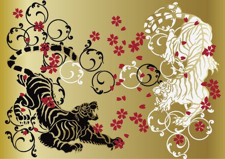 tigre e fiori di ciliegio Vettoriali