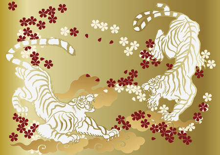 tiger and Cherry Blossoms