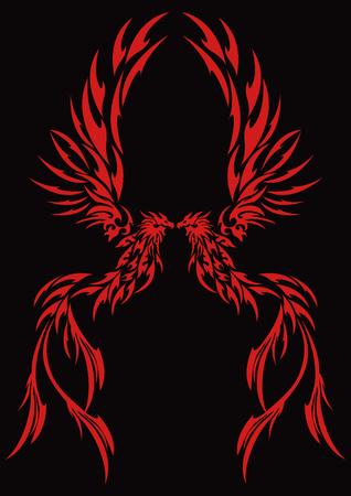 Tribal-Phoenix Vektorové ilustrace