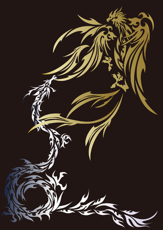 Tribal-Phoenix and dragon