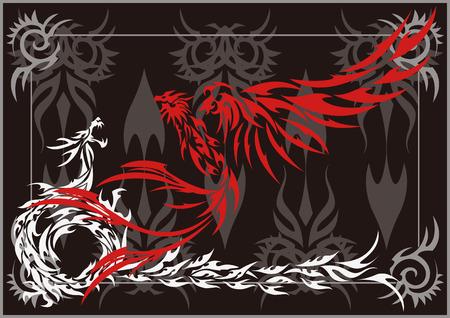 Tribal-Phoenix and dragon Vector Illustration