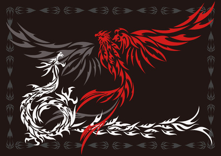 Tribal-Phoenix and dragon
