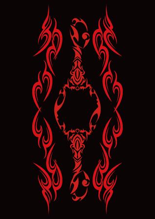 黒の背景に赤の部族の入れ墨の図パターン。