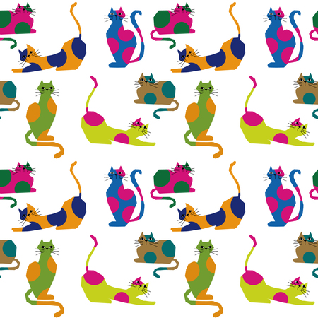 Cute colorful cat seamless pattern. Иллюстрация