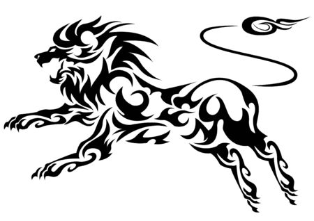 Line Art Lion : Tribal vector lion stock illustration and royalty free