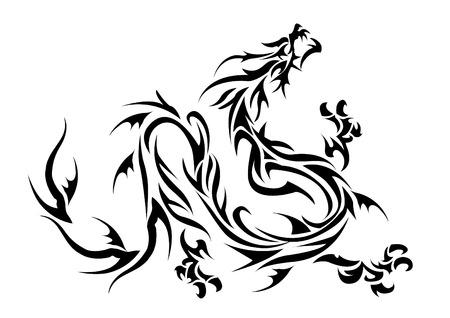 かわいいトライバルドラゴンの図
