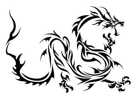 Ilustración artística del dragón tribal Foto de archivo - 74729573