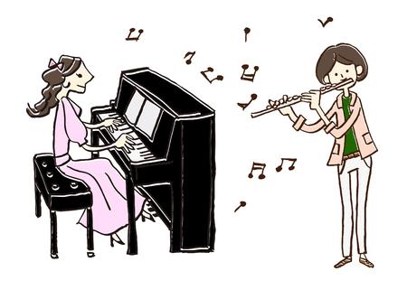 음악가 피아노 피리 일러스트