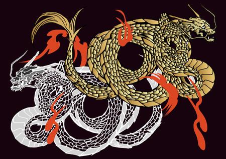 Japanese dragon vector  イラスト・ベクター素材