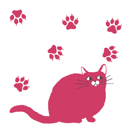 springy: fluffy cat illustration