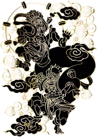 ukiyoe: Japanese pattern God of wind and thander