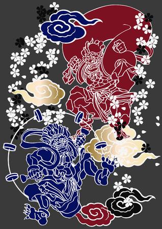 Japanese pattern God of wind and thunder Illustration