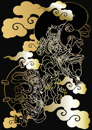 Japanese pattern God of wind and thunder Stock Vector - 81425027