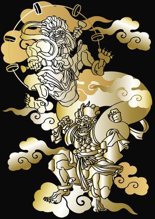 Japans patroon God van wind en thander