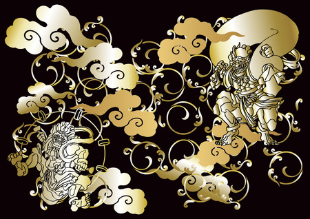 Japanese pattern god of wind and thunder
