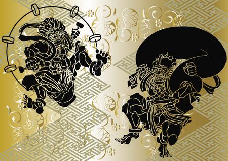 Patrón japonés Dios del viento y del pitorro