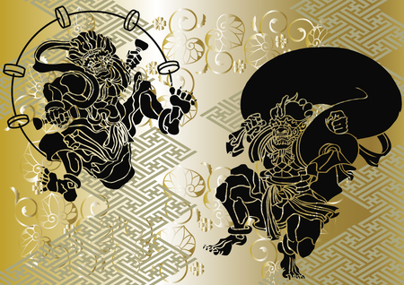 Japanese pattern God of wind and thander