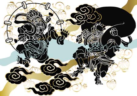 Patrón japonés Dios del viento y del pitorro Ilustración de vector