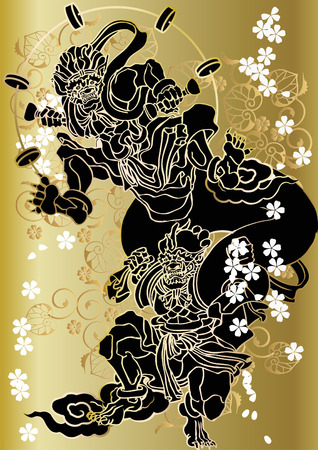Japanese pattern god of wind and thunder Stock Vector - 81425287