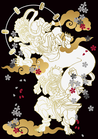 A Japanese pattern God of wind and thunder. Vectores
