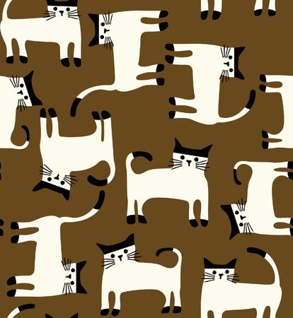 Seamless cat pattern Ilustração