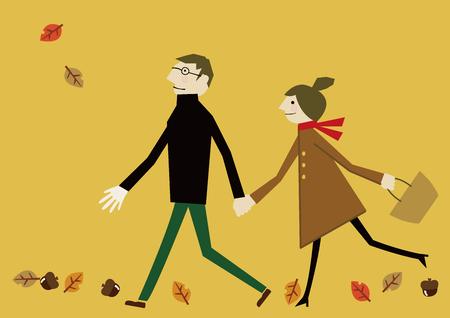 herfstafbeelding met liefhebbers Stock Illustratie