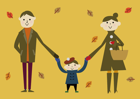 autumn image with family