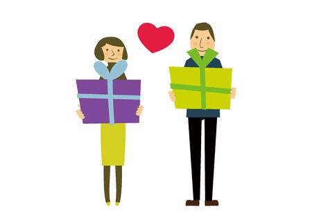 Gift giving vector illustration.
