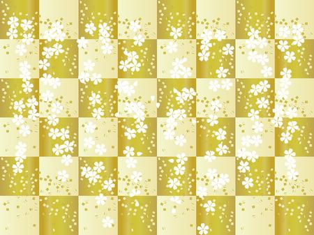 美しい市松模様の金色の背景を持つ伝統的な日本のパターン。