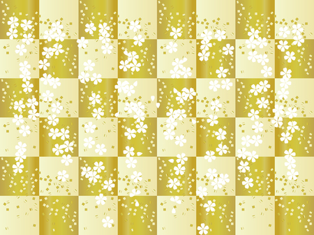 Traditional Japanese pattern with a beautiful checkered golden background. Illustration