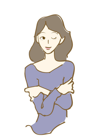 손으로 그린. 여자의 그림입니다.