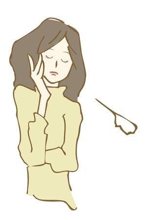 手描きの悲しい女性イラスト。  イラスト・ベクター素材