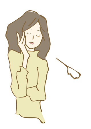 Hand drawn sad woman illustration.